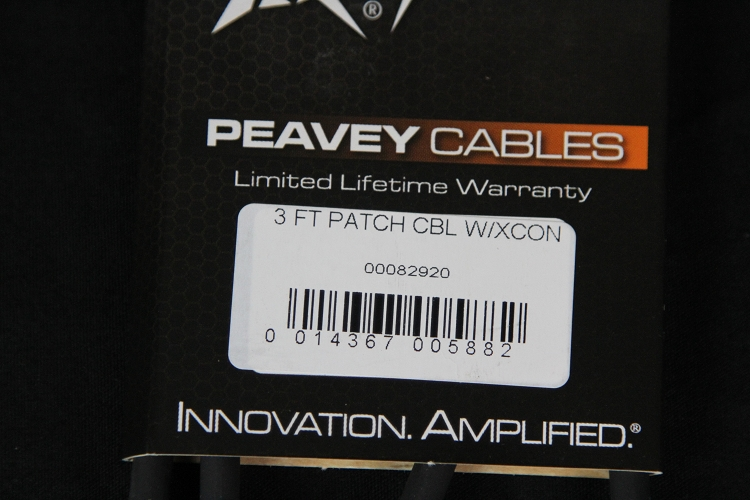 Peavey Black 3' instrument cable , patch chord